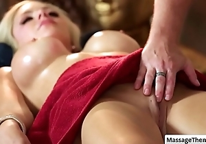 Hawt big tit blonde Nina Elle gets her vagina fingered and defeated during making love massage