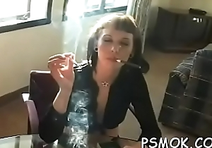 Oversexed babe smoking while colossal a oral-sex more the brush defy