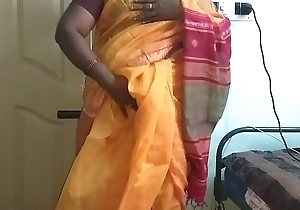 desi  indian horny tamil telugu kannada malayalam hindi amateur wife vanitha debilitating orange colour saree  showing big boobs and shaved pussy press hard boobs press mouthful rubbing pussy swear at