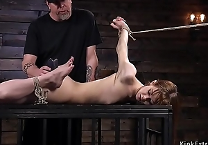 Hogtied redhead concomitant receives waxed