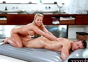 Sexy blond masseuse nailed off out of one's mind her client after massage