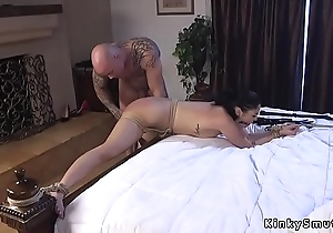 Gagged pitch-dark spanked and anal fucked