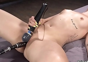 Blonde acquires orgasm encircling fake penis together with device