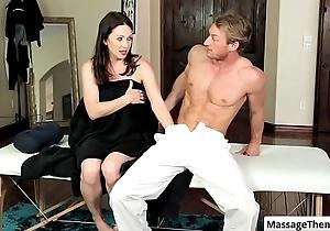 Sexy big tit brunette milf RayVeness suck her masseur chunky cock
