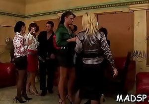Lucky dear boy gets fucked by a group of smoking hot cuties