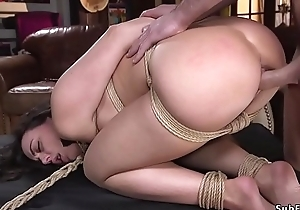 Brunette hottie fucked thither bondage at the end of one's tether foreign