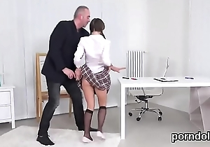 Innocent schoolgirl gets tempted with an increment of nailed by older confidante
