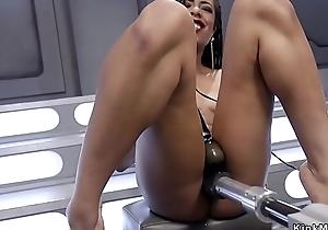 Ebony rubs pussy and fucks machine
