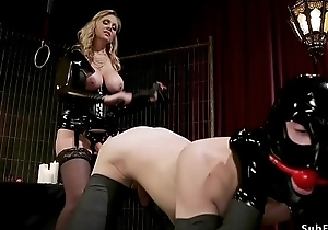 Male not far from bondage whipped by mistress
