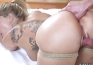 Blonde wife gets anal finger thraldom sex