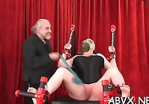 Sexy female screwed and hot to trot in extraordinary bondage