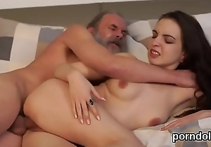 Innocent college girl is seduced and drilled by patriarch cicerone