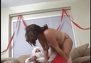 Fat irritant adult lady sucks and bonks a chunky santa'_s cock on the sofa