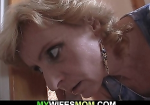 Flaxen-haired grown-up mommy pleases her son-in-law