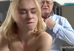 Cute schoolgirl is tempted and gangbanged by elder tutor