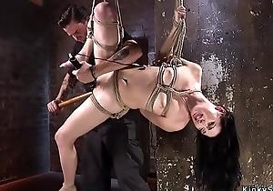 Pretty coddle captured encircling hogtie bondage