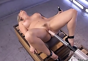 Busty blonde Milf rides shafting machine
