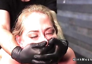 Blindfolded blonde cutie face hole banged