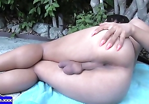Merely tranny jerking huge dong just about closeup