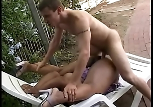 Unscrupulous newborn with conscientious restrain Carcass gets her cunt licked plus screwed with a white dick up ahead chaise lounge