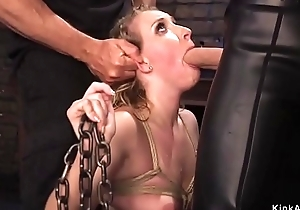 Blonde babe in arms gets villeinage slave training