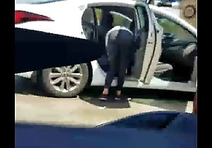 Pallid Girl With Leggings At Car Wash